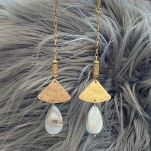 Handmade shell and hammered fan duster earrings
